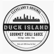 CLEVELAND'S ORIGINAL DUCK ISLAND GOURMET CHILI SAUCE HOT DOGS · NACHOS · FRIES MADE WITH 100% GRASS-FED BEEF