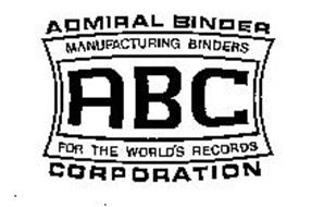 ADMIRAL BINDER CORPORATION MANUFACTURING BINDERS FOR THE WORLD'S RECORDS ABC