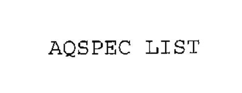 AQSPEC LIST