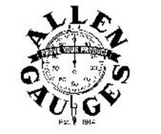 ALLEN GAUGES PROVE YOUR PRODUCT EST. 1914