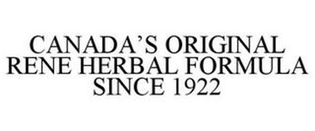CANADA'S ORIGINAL RENE HERBAL FORMULA SINCE 1922
