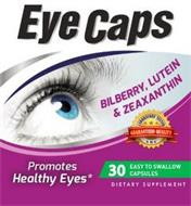 EYE CAPS BILBERRY, LUTEIN & ZEAXANTHIN LABORATORY TESTED GUARANTEED QUALITY AMS PROMOTES HEALTHY EYES 30 EASY TO SWALLOW CAPSULES DIETARY SUPPLEMENT