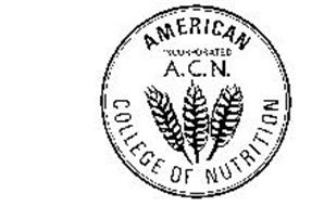 AMERICAN COLLEGE OF NUTRITION INCORPORATED A.C.N.