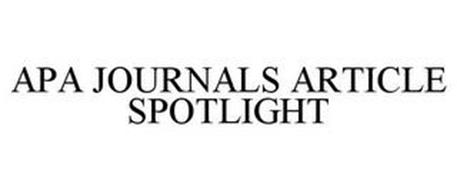 APA JOURNALS ARTICLE SPOTLIGHT