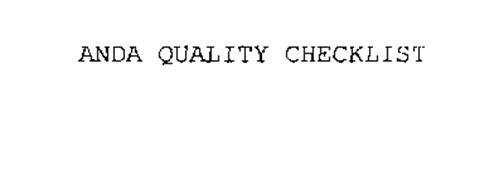 ANDA QUALITY CHECKLIST