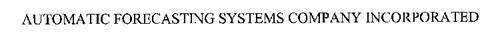 AUTOMATIC FORECASTING SYSTEMS COMPANY INCORPORATED