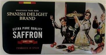 REGISTERED TRADE MARK SPANISH DELIGHT BRAND EXTRA PURE QUALITY SAFFRON SINCE 1860 PRODUCED IN SPAIN