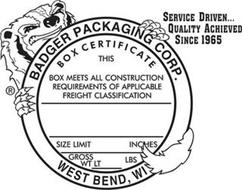 BADGER PACKAGING CORP. WEST BEND, WI BOX CERTIFICATE SERVICE DRIVEN...QUALITY ACHIEVED SINCE 1965