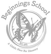 BEGINNINGS SCHOOL EST. 1985 A CHILD'S PLACE FOR DISCOVERY