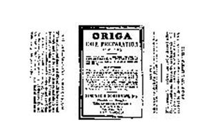 ORIGA HAIR PREPARATION ALCOHOL 10% BENDINER & SCHLESINGER,INC. CHEMISTS AND DRUGGISTS THIRD AVENUE AND TENTH STREET NEW YORK 3, N.Y. ESTABLISHED 1843 8 FLUID OUNCES.