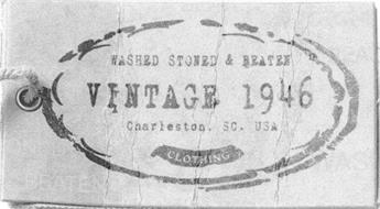 VINTAGE 1946 CLOTHING WASHED STONED & BEATEN CHARLESTON SC USA
