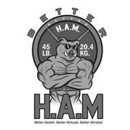 BETTER H.A.M BETTER HEALTH. BETTER ATTITUDE. BETTER MINDSET 45 LB. 20.4 KG.