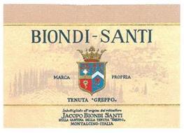 """BIONDI-SANTI MARCA PROPRIA TENUTA """"GREPPO,, IMBOTTIGLIATO ALL'ORIGINE DAL VITICULTORE JACOPO BIONDI SANTI NELLA CANTINA DELLA TENUTA """"GREPPO,, MONTALCINO · ITALIA"""