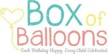 BOX OF BALLOONS EACH BIRTHDAY HAPPY. EVERY CHILD CELEBRATED.