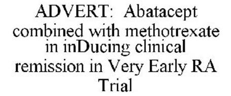 ADVERT: ABATACEPT COMBINED WITH METHOTREXATE IN INDUCING CLINICAL REMISSION IN VERY EARLY RA TRIAL
