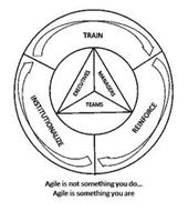 TRAIN REINFORCE INSTITUTIONALIZE EXECUTIVES MANAGERS TEAMS AGILE IS NOT SOMETHING YOU DO... AGILE IS SOMETHING YOU ARE
