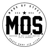 M.O.S. MADE OF STEEL USA BRA SUCCESS IS NOT A DESTINATION ITS A JOURNEY SKATE SURF JIU JITSU