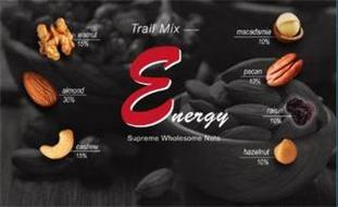 TRAIL MIX ENERGY SUPREME WHOLESOME NUTS WALNUT 15% ALMOND 30% CASHEW 15% MACADAMIA 10% PECAN 10% RAISIN 10% HAZELNUT 10%