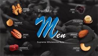 TRAIL MIX MEN SUPREME WHOLESOME NUTS WALNUT 15% HAZELNUT 10% PECAN 10% CRANBERRY 7% RAISIN 8% MACADAMIA 10% ALMOND 25% CASHEW 15%