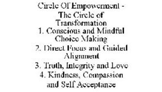 CIRCLE OF EMPOWERMENT - THE CIRCLE OF TRANSFORMATION 1. CONSCIOUS AND MINDFUL CHOICE MAKING 2. DIRECT FOCUS AND GUIDED ALIGNMENT 3. TRUTH, INTEGRITY AND LOVE 4. KINDNESS, COMPASSION AND SELF ACCEPTANCE
