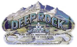 AUTHENTIC DEEP ROCK ARTESIAN WATER PURE ROCKY MOUNTAIN WATER DELIVERED TO YOUR DOOR DEEP ROCK BOTTLING CO. DENVER COLORADO EST. 1896