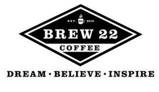 EST. 22 2016 BREW 22 COFFEE DREAM BELIEVE INSPIRE