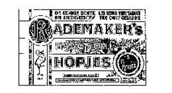 RADEMAKER'S HAAGSCHE HOPJES DE EENIGE ECHTE LES SEULS VERITABLES DIE EINZIG ECHTEN THE ONLY GENUINE KONINKLIJKI CACAO ENCHOCOLADE FABRIEKEN 'S GRAVENHAGE HOLLAND GEO MERK. NO.4