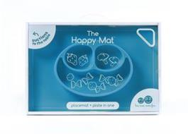 THE HAPPY MAT PLACEMAT + PLATE IN ONE SUCTIONS TO THE TABLE EZ PZ LESS MESS. MORE FUN BPA, PVC AND PHTHALATE FREE SILICONE