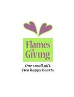 FLAMES OF GIVING ONE SMALL GIFT. TWO HAPPY HEARTS.