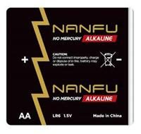 NANFU NO MERCURY ALKALINE CAUTION: DO NOT CONNECT IMPROPERLY, CHARGE OR DISPOSE OF IN FIRE, BATTERY MAY EXPLODE OR LEAK. NANFU NO MERCURY ALKALINE AA LR6 1.5V MADE IN CHINA + -