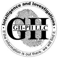 INTELLIGENCE AND INVESTIGATIONS · IF THE INFORMATION IS OUT THERE, WE WILL FIND IT. · GII GII-PII LLC