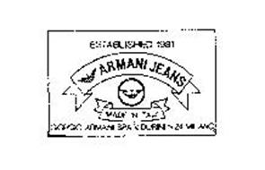 54e7ff65b2 ESTABLISHED 1981 ARMANI JEANS MADE IN ITALY GIORGIO ARMANI SPA V. DURINI N  24 MILANO