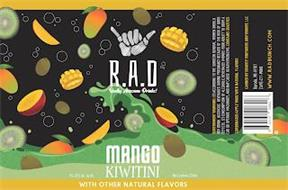 R.A.D REALLY AWESOME DRINK! MANGO KIWITINI WITH OTHER NATURAL FLAVORS 7%-10% ALC. BY VOL. NET CONTENTS 250ML