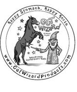 HAPPY STOMACH, HAPPY HORSE GUT WIZARD ALL NATURAL ORGANIC HELPS PROMOTE OPTIMAL GASTRIC HEALTH WWW.GUTWIZARDPRODUCTS.COM