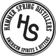 HAMMER SPRING DISTILLERS AMERICAN SPIRITS & BITTERS HS