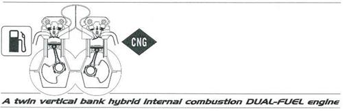 CNG A TWIN VERTICAL BANK HYBRID INTERNAL COMBUSTION DUAL-FUEL ENGINE