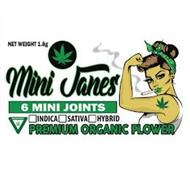 MINI JANES 6 MINI JOINTS INDICA SATIVA HYBRID PREMIUM ORGANIC FLOWER NET WEIGHT 1.8G