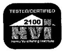 TESTED/CERTIFIED 2100 HVI HOME VENTILATING INSTITUTE