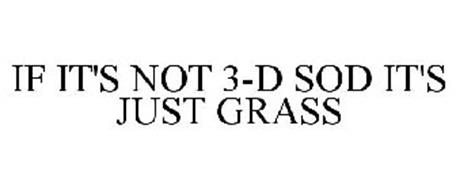 IF IT'S NOT 3-D SOD IT'S JUST GRASS