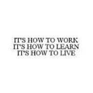IT'S HOW TO WORK IT'S HOW TO LEARN IT'S HOW TO LIVE
