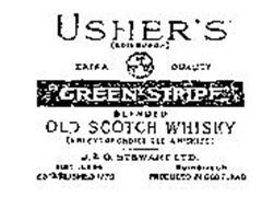 "USHER'S ""GREEN STRIPE"" BLENDED OLD SCOTCH WHISKY (A BLEND OF CHOICE OLD WHISKIES) EXTRA QUALITY J. & G. STEWART LTD. DISTILLERS ESTABLISHED 1779 EDINBURGH PRODUCED IN SCOTLAND"