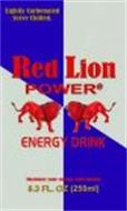 RED LION POWER ENERGY DRINK LIGHTLY CARBONATED SERVE CHILLED. MAXIMIZE YOUR ENERGY WITH 8.3 FL. OZ (250ML)