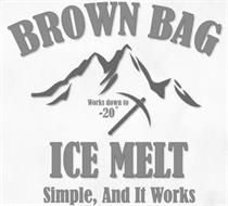 BROWN BAG ICE MELT WORKS DOWN TO -20° SIMPLE, AND IT WORKS