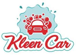 """A BLUE WATER IMAGE SURROUNDING A RED CAR THAT HAS RED BUBBLES PROTRUDING FROM IT WITH THE WORDS, """"KLEEN CAR"""" AT THE BOTTOM OF THE LOGO."""