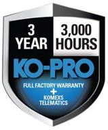 3 YEAR 3,000 HOURS KO-PRO FULL FACTORY WARRANTY + KOMEXS TELEMATICS