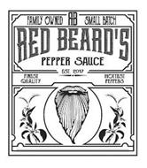 FAMILY OWNED RB SMALL BATCH RED BEARD'S PEPPER SAUCE EST. 2017 FINEST QUALITY HOTTEST PEPPERS