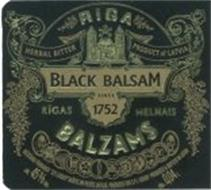 "RIGA BLACK BALSAM RIGAS MELNAIS BALZAMS HERBAL BITTER PRODUCT OF LATVIA SINCE 1752 RAZOSANU PARRAUGA ""SPI GROUP"". RAZOTS UN PILDITS LATVIJA. PRODUCED FOR S.P.I. GROUP. PRODUCED & BOTTLED IN LATVIA ALK. 45% TILP. TILP. 0,04L"