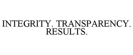 INTEGRITY. TRANSPARENCY. RESULTS.