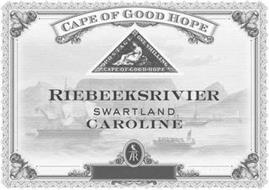 RIEBEEKSRIVIER SWARTLAND CAROLINE CAPE OF GOOD HOPE POSTAGE ONE SHILLING CAPE OF GOOD HOPE AR