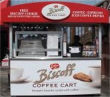 LOTUS BISCOFF COFFEE CART EUROPE'S FAVORITE COOKIE WITH COFFEE FREE BISCOFF COOKIE SERVED WITH EVERY COFFEE COFFEE ESPRESSO ICED COFFEE DRINK
